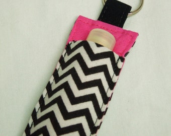 Chap Stick Holder, Lip Balm key chain, chapstick case,  ChapStick Keychain, Lipbalm case cozy-Black White Chevron on pink