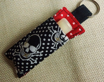 Chap Stick Holder, Lip Balm key chain, chapstick keychain, chapstick case, lip stick, Lipbalm case cozy- Black skull