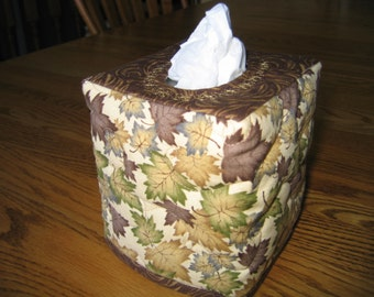 Quilted Tissue Cover with Brown, Gold and Green Leaves