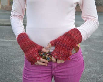 Knitted mittens fingerless gloves hand warmers red crimson with Lace gift for her