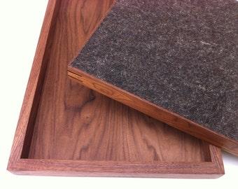Modern Walnut Display Box Ottoman Tray w/ Splines and Felt Bottom- Large Zen Garden - Interior Design Decor - Coffee Table Topper Sand Tray