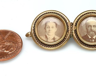 INSTANT VICTORIAN FAMILY - Double Photographic Brooch Pin c.1880: Husband, Wife or Brother, Sister, or a unique gift for the birth of twins!