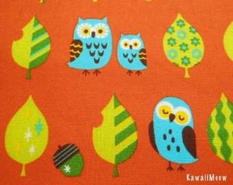 Kawaii Japanese Fabric - Leaves Owls on Orange - Half Yard (pu130820)