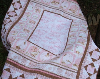 Pastel Pink and Brown Baby Quilt