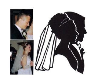 Double Wedding Silhouette Portrait