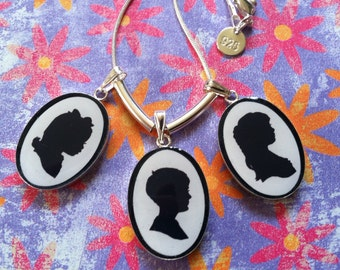 Custom Silhouette Pendant - Three Subjects - INCLUDES Hand Cut Portraits