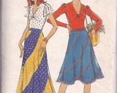 Butterick 3555 1970 miss size 14 blouse, top, shirt, four panel swirl skirt