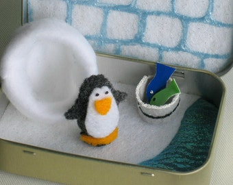 Penguin felt plush play set in an Altoid tin with bucket of fish and fleece snuggle bag