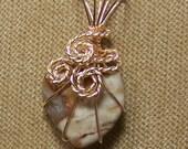 Natural Brown/Tan/Gray Jasper Gold Wire Wrap Necklace Pendant