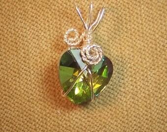 Rainbow Heart Rhinestone Sterling Silver Plate Wire Wrap Necklace Pendant SALE