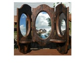 Triple folding wood mirror revamped tortoiseshell  paint copper brown black