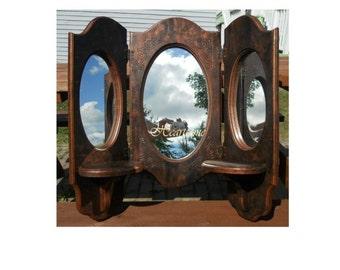 Triple folding wood mirror revamped tortoiseshell  paint copper brown black