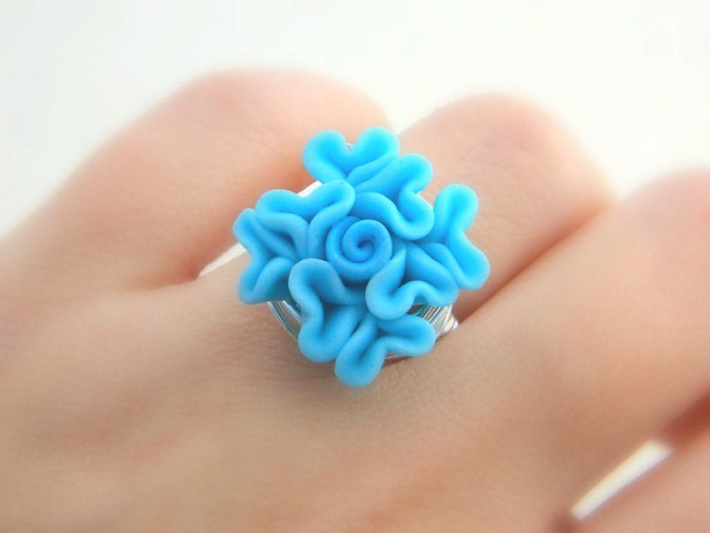 Snap Blue Eye Polymer Silver Wire Wrap Ring Any Size Photos On Pinterest Handmade Sterling Tiger By Jandsgems Clay To Order Flower Rose Light