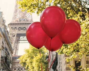 Red Balloons in Paris, Eiffel Tower, Paris Photography, Spring in Paris, French Home Decor, Red, Paris Architecture, Kids Room Art
