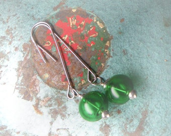 Christmas Ornament Earrings - Sterling Silver and Hollow Green Artisan Glass Lampwork - Handmade