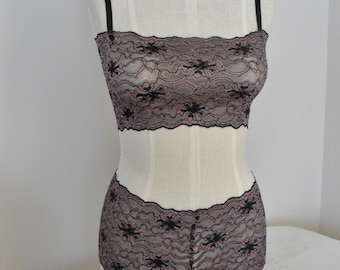 Bralette in Black and Pink Stretch Lace with Matching Cheeky Boy Short Style Panties