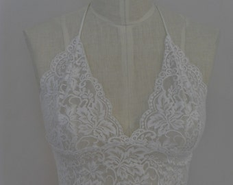 Bralette Fitted Camisole in White Stretch Lace With Satin Straps Halter Style