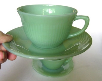 2 Fire King Jadite Jadeite Glass Jane Ray Cups and Saucers