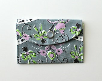 Women's Wallet - Fabric Credit Card Holder - Dutch motif - grey