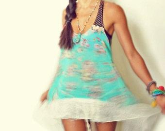 Sweet Dreams Lacy Net Boho Hi-Low Racer Tunic Shirt Dress