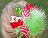 Christmas Red and Lime Green Over The Top Funky Bow with interchangeable headband Free Shipping On All Additional Items
