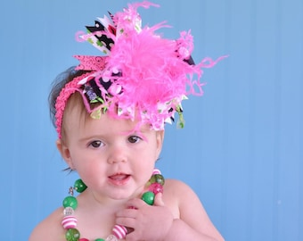 Hot Pink, Lime Green, Black, Shamrock Kiss, St. Patrick's Day Over The Top Bow on Matching Headband Free Shipping On All Addional Items