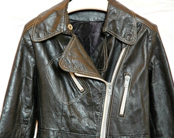 Vintage 60s Leather Motorcycle Jacket, Black, Easy Rider 1960s, Unisex, Mens S XS Ladies S M