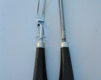 Vintage Carving Set of Meat Fork And Knife Sharpener With Chunky Large Black Bakelite Handles