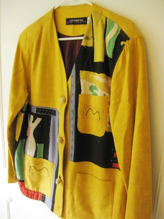 Vintage Canvasbacks Lutton and Horsfield Jacket, Abstract Art To Wear, Bohemian, Unusual