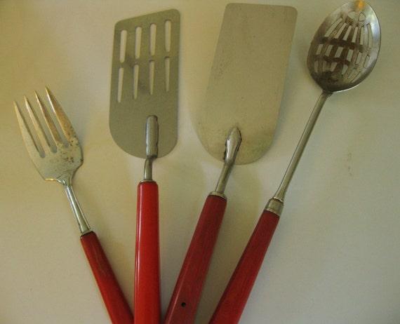 4 Vintage Red Bakelite Handled Kitchen Utensils Large Fork
