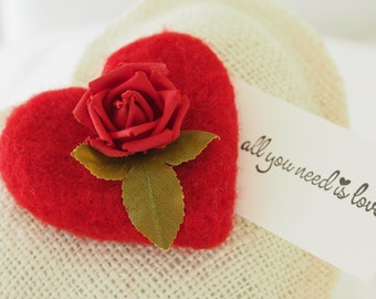 Valentine's Day Gift, Felted Wool, Vintage Fabric Rose and Burlap Heart Pillow, Red Needle Felt Heart. All You Need Is Love