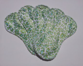 5 Green and Blue Cheetah/Leopard Minky/Microchenille Cotton Cloth Liners
