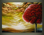 abstract art original painting lollipop tree art large canvas abstract landscape painting - 22 x 28