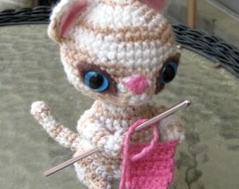Crochet Kitten Hook Holder Amigurumi Pattern