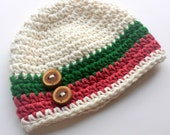 Crochet Baby Hat, Baby Boy Hat, Christmas, Ecru, Red and Green with Wooden Buttons, READY TO SHIP, 0-3 months