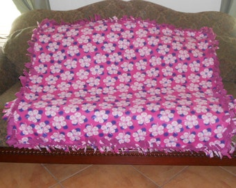 White and Pink Flowers on Bright Pink Dark Pink Back Fleece Tie Blanket No Sew Fleece Blanket 48x60 Approximate size