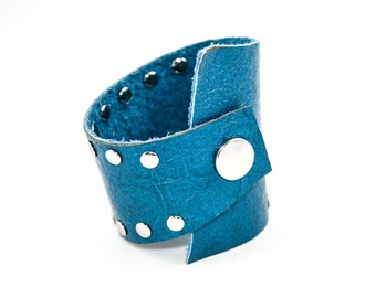 Asymmetrical Leather Cuff w/ Studs (Azure Blue) - Size Medium