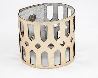 Leather Cutout Cuff - Geometric Pattern - Laser Cut (Metallic Gold) - Size Small