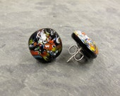 Millefiori Fused Glass Sterling Silver Post Earrings Multi Colored Fractured Glass