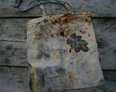 Canvas tote hand dyed eco printed bag