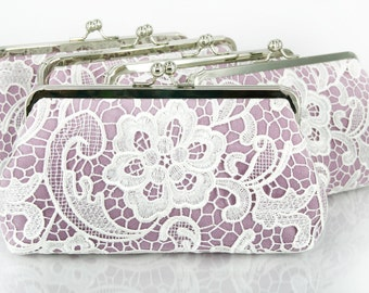 Bridesmaids Clutches Lace Clutches for Bridal Party in Lilac Purple - Set of 5 with gift boxes L'HERITAGE