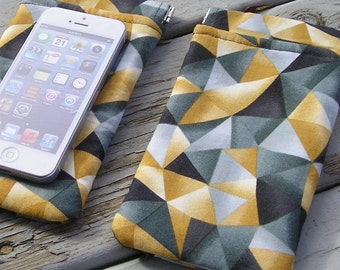 Handmade Wide Cellphone Case 4 x 6 Soft Padded Fabric w/ Flex Frame Closure -  Lined, Snaps Shut