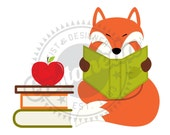 Red Fox Reading Clipart