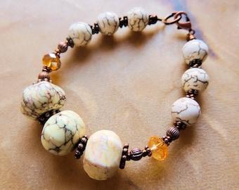 Magnesite Bracelet, Cream and Copper, Statement Jewelry, Gemstone Jewelry, Handcrafted Jewelry, Copper Jewelry, Southwestern Style