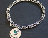 Medical Alert Charm Bracelet - stainless steel bracelet and 1-sided disc - Swarovski channel crystal or round pearl dangle - choice of size