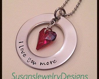 I Love You More Necklace - stainless steel 1-sided washer - choice of chain - Swarovski heart crystal