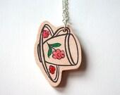 Wooden Tea Cup Necklace