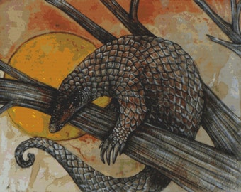 Modern Cross Stitch Kit 'Pangolin' by Lynnette Shelley