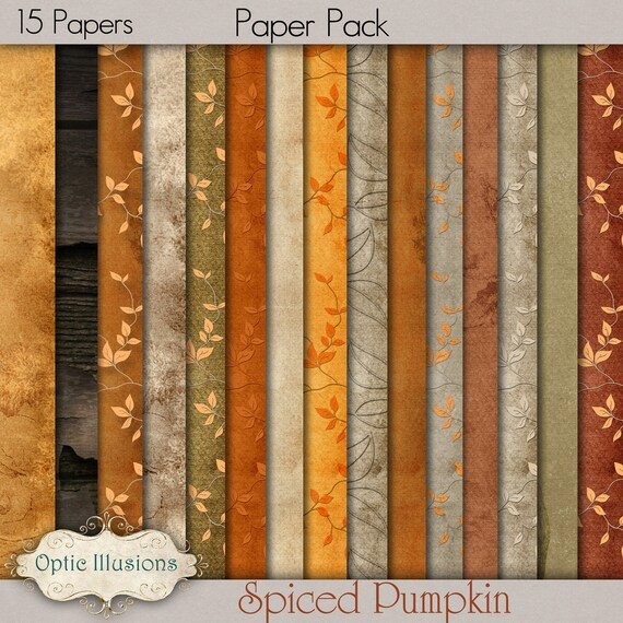 Spiced Pumpkin - Digital Scrapbooking Papers - 12 x 12 inches - Fall, Thanksgiving, Audtumn, Supplies - INSTANT DOWNLOAD - 2.75