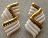 Hand Carved Genuine Ivory earrings with 14K gold trim